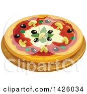 Clipart Of A Pizza Capricciosa Royalty Free Vector Illustration by Vector Tradition SM
