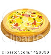 Clipart Of A Pizza Pugliese Royalty Free Vector Illustration by Vector Tradition SM