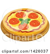 Clipart Of A Pizza Margherita Royalty Free Vector Illustration