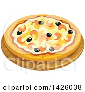 Clipart Of A Pizza Marinara Royalty Free Vector Illustration