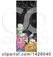 Sketched Vertical Halloween Border Of A Zombie Coffin Skull Crow Pumpkin Bats And Ghost