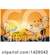 Clipart Of A Sketched Halloween Background Of A Full Moon Bats Skull Crow Jackolanterns And Zombies In A Cemetery Royalty Free Vector Illustration by Vector Tradition SM