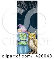 Sketched Vertical Halloween Border Of A Witch Cauldron Pumpkin Candelabra And Owl
