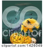 Sketched Halloween Background Of Ghosts Bats A Full Moon Witch Skull Pumpkins And Crow