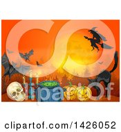 Sketched Halloween Background Of A Witch Full Moon Bats Cat Pumpkins Cauldron Candelabra And Skull