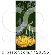 Clipart Of A Sketched Vertical Halloween Border Of A Witch Hat Bats Pumpkins Crow And Candelabra Royalty Free Vector Illustration by Vector Tradition SM