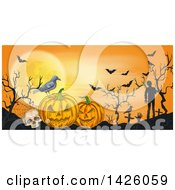 Clipart Of A Sketched Halloween Border Of A Crow Skull Jackolantern Bats And Zombies Royalty Free Vector Illustration by Vector Tradition SM