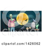 Clipart Of A Sketched Halloween Border Of A Full Moon Zombie Bats Crow Skulls And Grave Royalty Free Vector Illustration by Vector Tradition SM