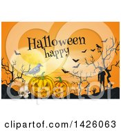 Clipart Of A Sketched Happy Halloween Greeting Over A Full Moon Bats Skull Crow Jackolanterns And Zombies In A Cemetery Royalty Free Vector Illustration by Vector Tradition SM