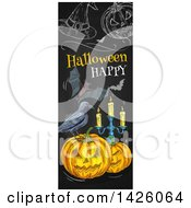 Clipart Of A Sketched Vertical Halloween Border Of A Crow Jackolanterns Candelabra Bats Pumpkin And Witch Hat A Blackboard Royalty Free Vector Illustration by Vector Tradition SM