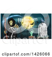 Clipart Of A Sketched Border Of A Happy Halloween Greeting Full Moon Grim Reaper Zombie And Grave Royalty Free Vector Illustration by Vector Tradition SM