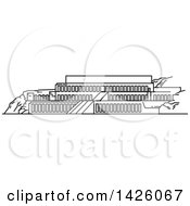 Clipart Of A Black And White Line Drawing Styled Egyptian Landmark Deir El Bahari Royalty Free Vector Illustration by Vector Tradition SM