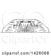 Clipart Of A Black And White Line Drawing Styled Egyptian Landmark Abu Simbel Royalty Free Vector Illustration by Vector Tradition SM