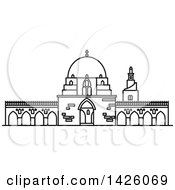 Clipart Of A Black And White Line Drawing Styled Egyptian Landmark Mosque Of Ibn Tulun Royalty Free Vector Illustration by Vector Tradition SM