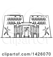 Clipart Of A Black And White Line Drawing Styled Egyptian Landmark Karnak Temple Royalty Free Vector Illustration by Vector Tradition SM