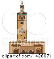 Clipart Of A Line Drawing Styled Morocco Landmark Koutoubia Mosque Royalty Free Vector Illustration
