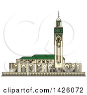 Clipart Of A Line Drawing Styled Morocco Landmark Hassan II Mosque Royalty Free Vector Illustration