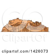 Clipart Of A Line Drawing Styled Morocco Landmark Ait Ben Haddou Royalty Free Vector Illustration