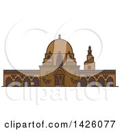 Clipart Of A Line Drawing Styled Egyptian Landmark Mosque Of Ibn Tulun Royalty Free Vector Illustration by Vector Tradition SM