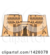 Clipart Of A Line Drawing Styled Egyptian Landmark Karnak Temple Royalty Free Vector Illustration by Vector Tradition SM