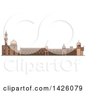 Clipart Of A Line Drawing Styled Egyptian Landmark Al Azhar Mosque Royalty Free Vector Illustration by Vector Tradition SM