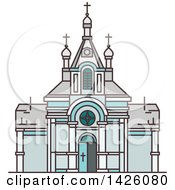 Clipart Of A Line Drawing Styled Egyptian Landmark Saint Virgin Mary Church Royalty Free Vector Illustration