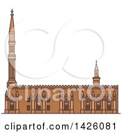 Clipart Of A Line Drawing Styled Egyptian Landmark Al Hussein Royalty Free Vector Illustration by Vector Tradition SM
