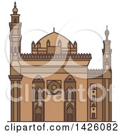 Clipart Of A Line Drawing Styled Egyptian Landmark Mosque Madrassa Of Sultan Hassan Royalty Free Vector Illustration by Vector Tradition SM
