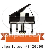 Grand Piano And Orange Banner