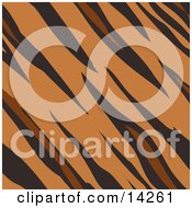 Tiger Animal Print Background With Brown Tan And Black Stripes In A Pattern Clipart Illustration