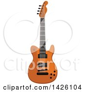 Clipart Of A Brown Electric Guitar Royalty Free Vector Illustration by Seamartini Graphics