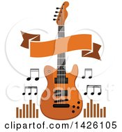 Clipart Of A Brown Electric Guitar With Music Notes A Banner And Equalizers Royalty Free Vector Illustration by Seamartini Graphics