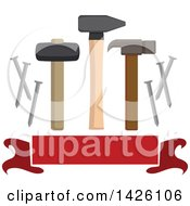 Clipart Of A Hammer Mallet Nail Puller Metal Nails Over A Blank Banner Royalty Free Vector Illustration