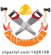 Clipart Of A Hard Hat Over Crossed Saws With Hatchets Over A Banner Royalty Free Vector Illustration by Seamartini Graphics