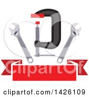 Clipart Of A Metal Vise And Spanner Wrenches Over A Blank Red Banner Royalty Free Vector Illustration