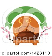 Green Banner Over A Japanese Ta Pot With A Cup On A Tray With Cherry Blossom Branches