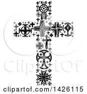 Clipart Of A Crucifix Formed Of Black And White Crosses Royalty Free Vector Illustration by Vector Tradition SM