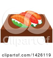 Clipart Of A Serving Of Salmon Sushi Royalty Free Vector Illustration by Vector Tradition SM