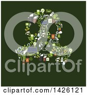 Poster, Art Print Of Gas Mask Formed Of Flat Design Energy Icons On Green