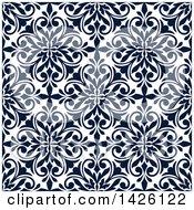 Seamless Pattern Background Of Navy Blue Damask