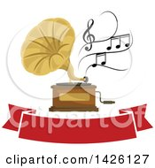 Phonograph With Music Notes Over A Red Banner