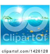 Clipart Of A Sun Shining Over Tropical Islands And The Ocean With Marine Fish Royalty Free Vector Illustration