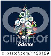 Clipart Of A Flat Design Water Drop Formed Of Icons Over Science Text On Blue Royalty Free Vector Illustration by Vector Tradition SM