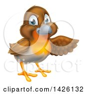 Clipart Of A Happy Robin Bird Presenting To The Right Royalty Free Vector Illustration by AtStockIllustration