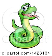 Clipart Of A Cartoon Happy Green Snake Royalty Free Vector Illustration