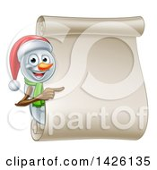 Christmas Snowman Wearing A Santa Hat And Pointing Around A Blank Scroll