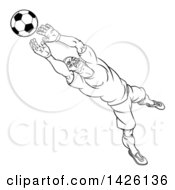Clipart Of A Black And White Lineart Cartoon Soccer Player Goal Keeper Catching The Ball Royalty Free Vector Illustration