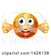 Clipart Of A Cartoon Happy Basketball Character Holding Two Thumbs Up Royalty Free Vector Illustration