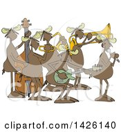 Clipart Of A Cartoon Musician Moose Jazz Band Royalty Free Vector Illustration