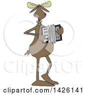 Clipart Of A Cartoon Musician Moose Playing An Accordion Royalty Free Vector Illustration